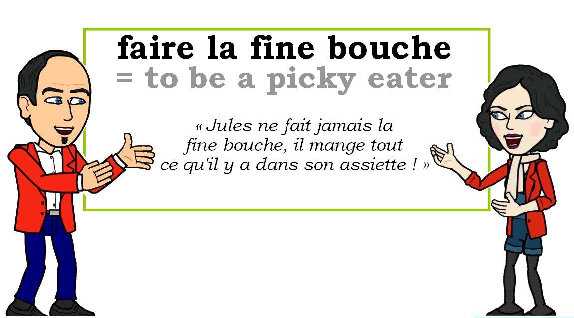 L&#39;expression du jour :    « faire la fine bouche » [fɛʀ la fin buʃ]    #learnfrench #FLE #french <br>http://pic.twitter.com/3V4UdEa9qn
