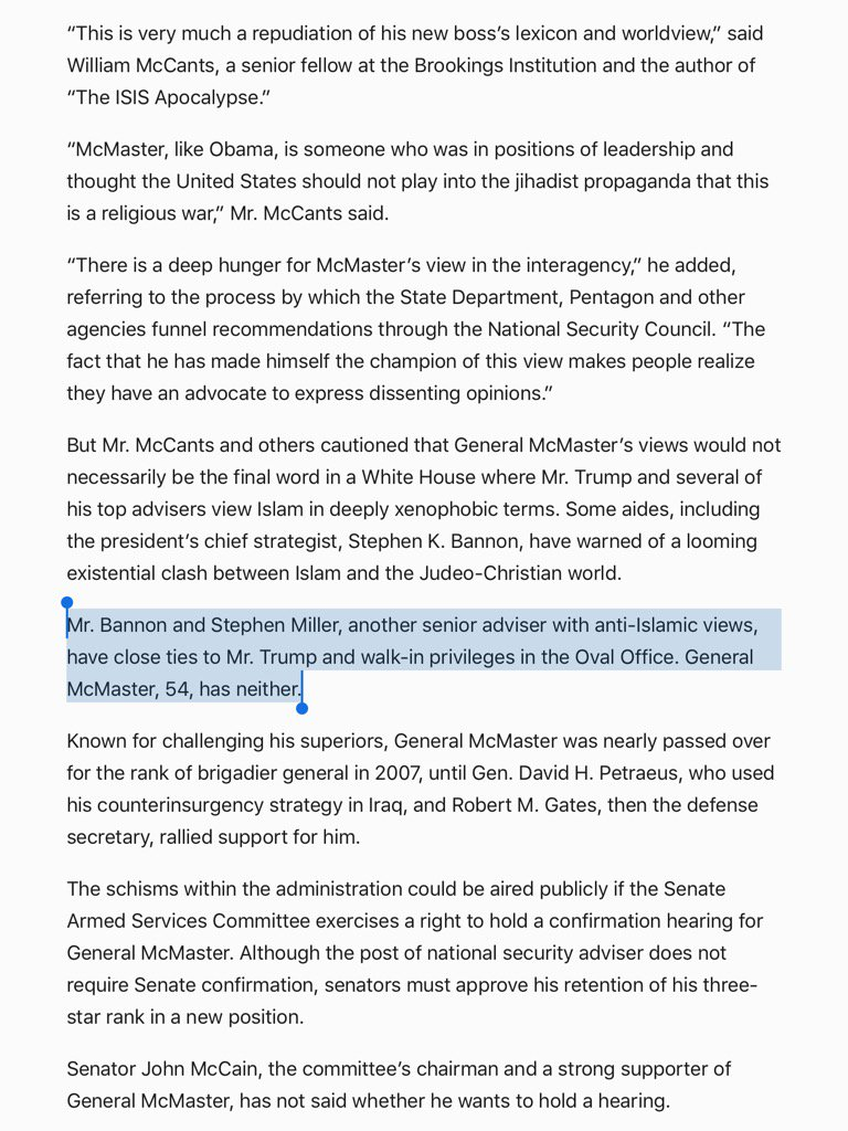 Report in NYT that Gen McMaster doesn't have walk-in privilege to Oval, if true, represents true downgrade of NSA https://t.co/skb6Zy9Vnx