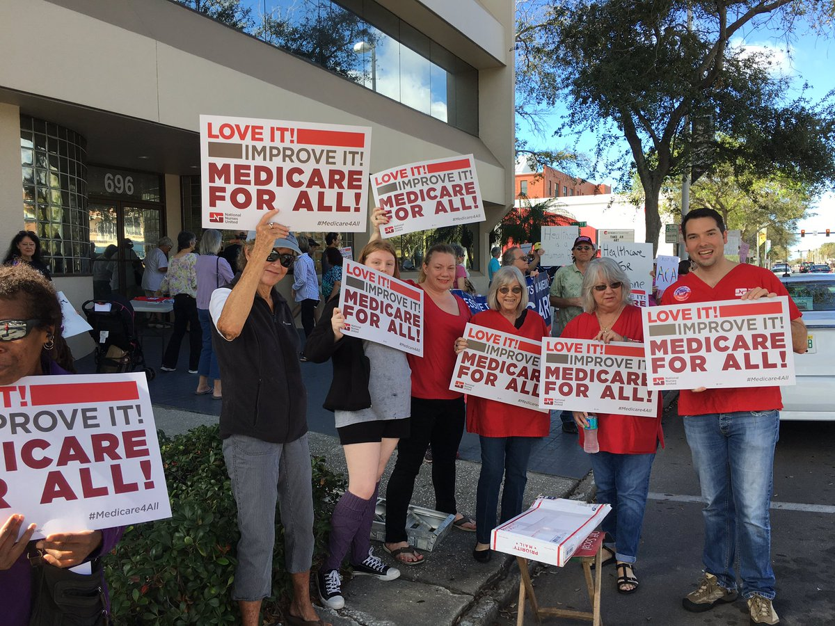 #Nurses in St. Petersburg Florida out in force campaigning at town halls for #Medicare4All this #saturday morning<br>http://pic.twitter.com/FTk4Vs47XN