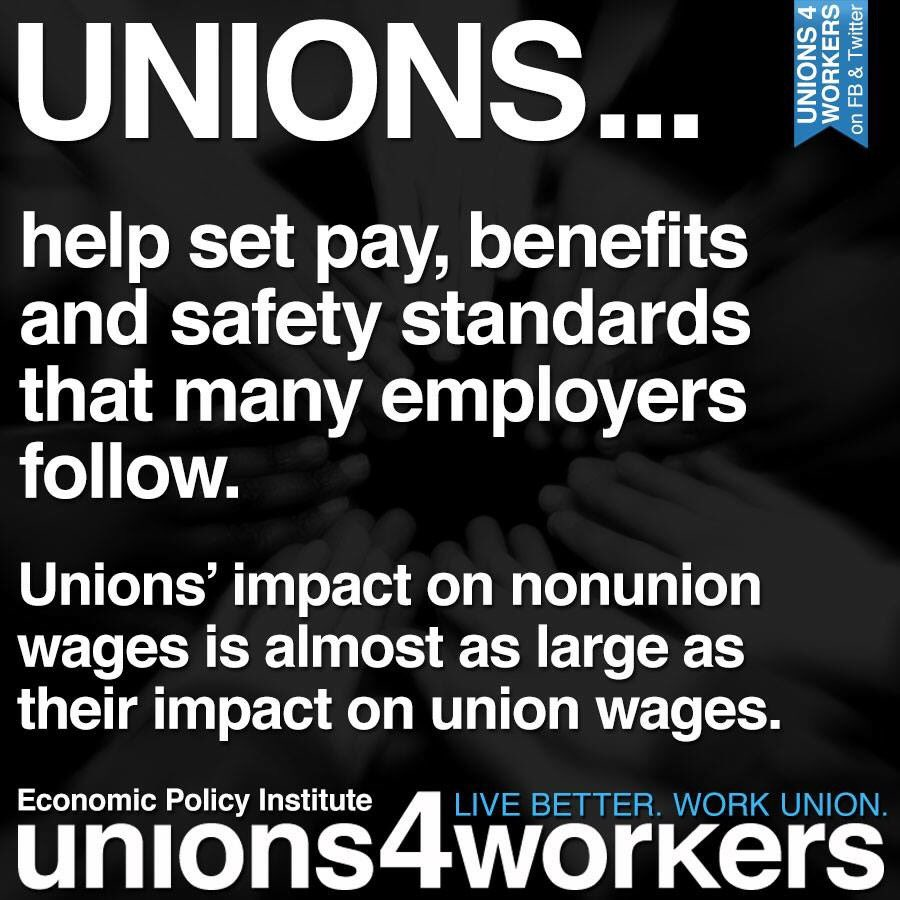 UNIONS set the standards and hold the line. #1u #p2<br>http://pic.twitter.com/P5DF4uiGpJ