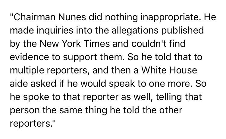 Spokesman for House Intel Cmte Chmn Nunes says WH aide asked Nunes to talk to a reporter about Russia story