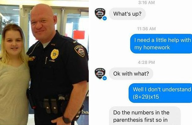 This 10-year-old asked the police to help her with her math homework h...