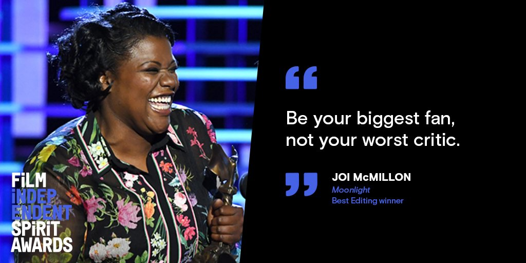 Incredible advice from BEST EDITING winner Joi McMillon #SpiritAwards https://t.co/A3bF7WfYyy