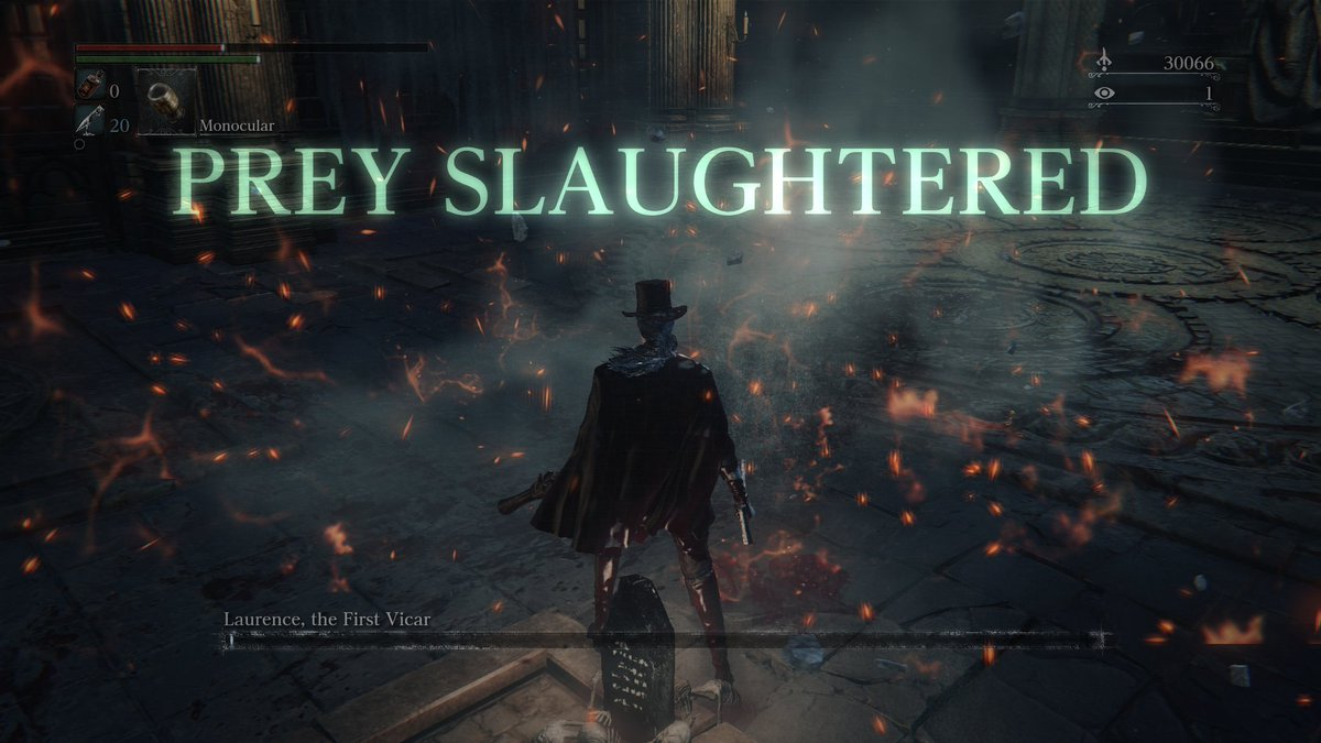 After weeks of suffering in NG, I beat #Laurence on the first try in #NewGamePlus. #Bloodborne #TheOldHunters #Bossfight #PreySlaughtered<br>http://pic.twitter.com/zKEWDMLs48