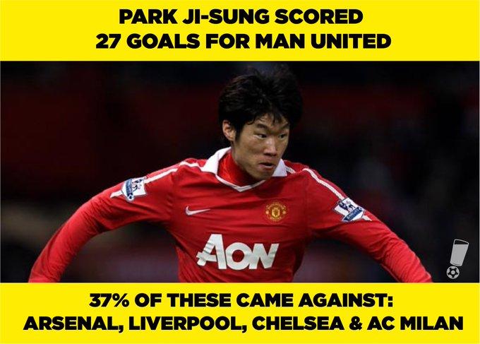 Happy 36th Birthday to Park Ji-sung, inexplicably the greatest big-game player of his generation.