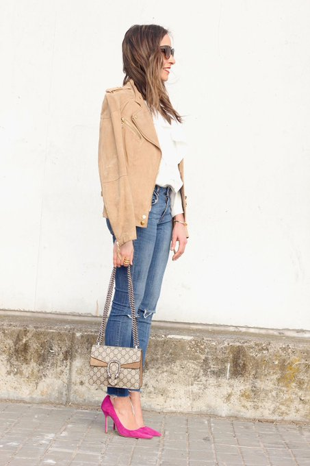 Suede Jacket & Ruffled Blouse