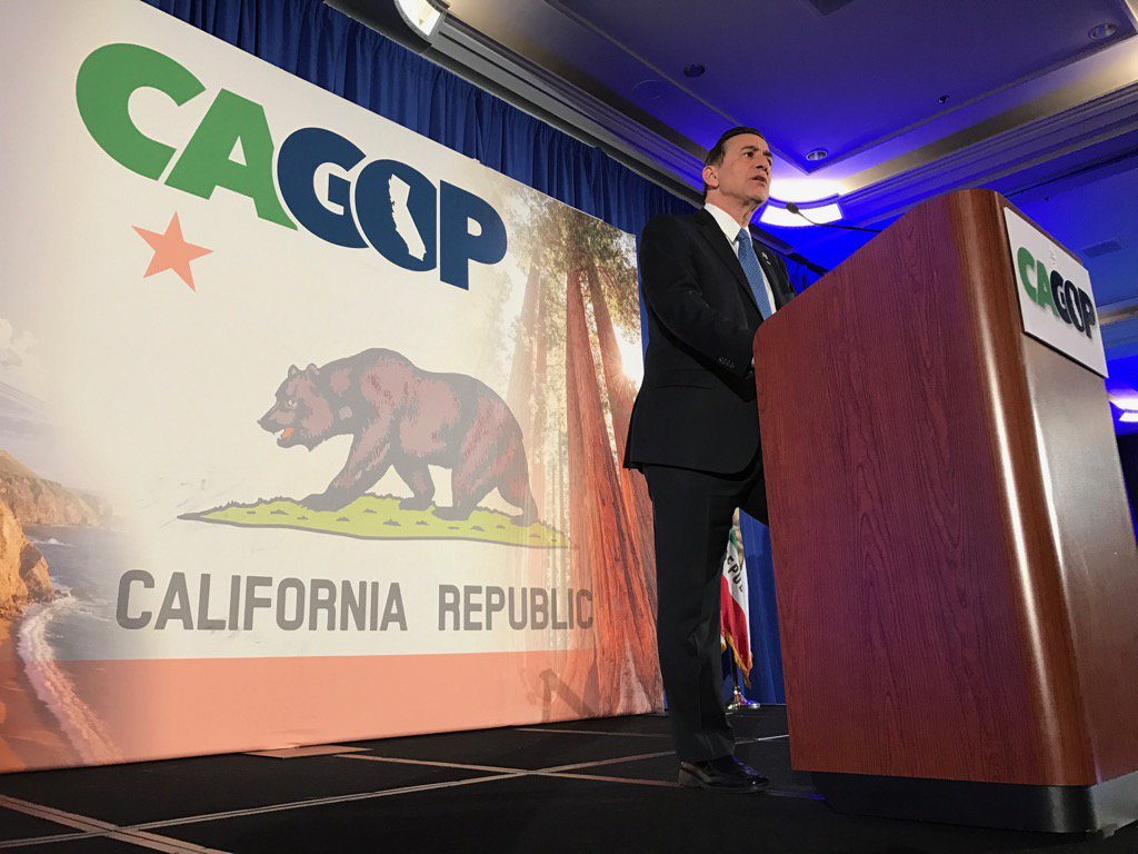 Rep. Darrell Issa speaks at the California Republican Party convention in Sacramento Sunday. (Carl Costas / For the Times)