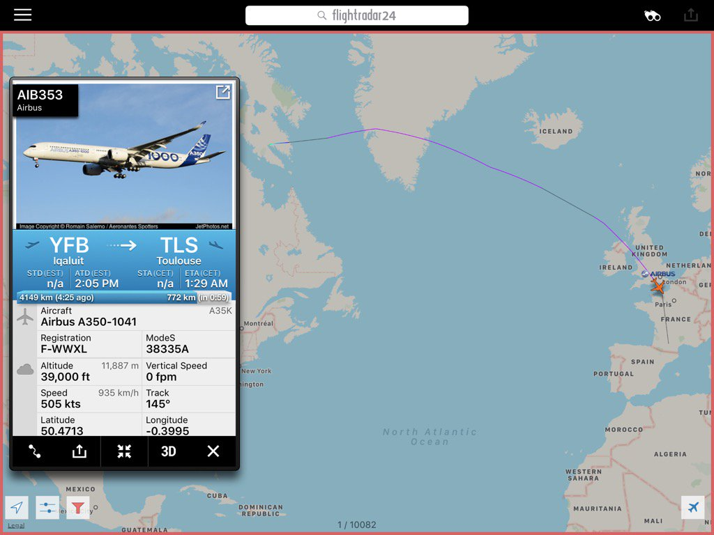❄️@airbus #a350-1000 msn 071 is on its way home from iqaluit after