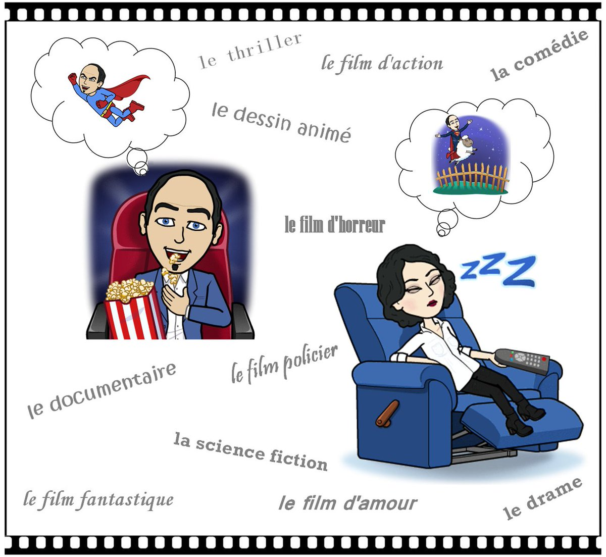 Quels sont vos genres de films préférés et pourquoi ? Et d&#39;autres que vous n&#39;aimez pas ?  #learnfrench #FLE #french #cinema #Oscars <br>http://pic.twitter.com/6obp16umHb
