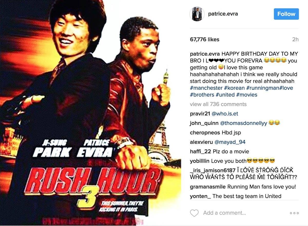 Patrice Evra's Happy Birthday Instagram message to Park Ji-Sung... 😂 h...