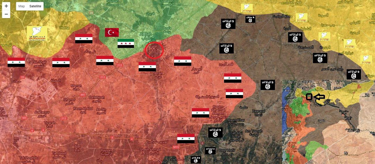 Mappa militare di al Bab, aggiornata al 26/02/2017. Credits to: Twitter