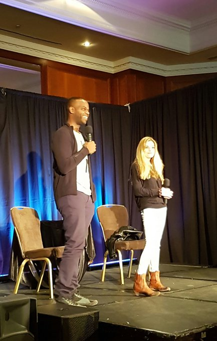 Demore Barnes and Ellen Muth on Stage  HAPPY BIRTHDAY