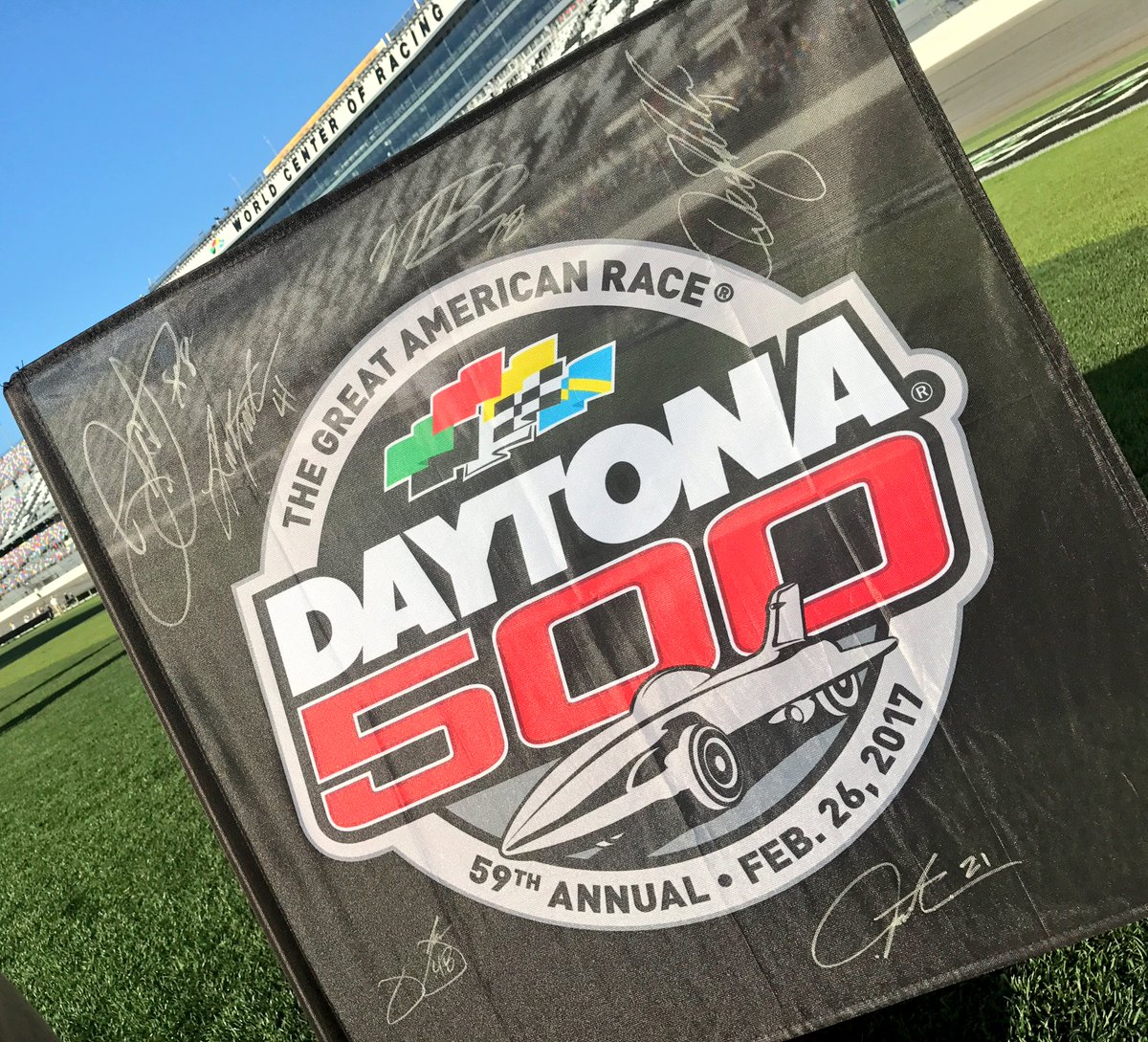 #ROADTODAYTONA500 has reached its final destination! RETWEET for your chance to win this signed #DAYTONA500 flag! Winner picked at 8pm ET!