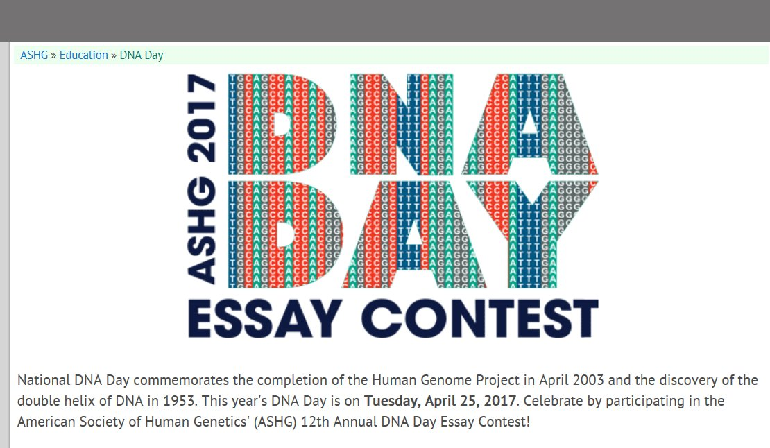 dna day essay contest amount $400 Scholarship contests & sweepstakes  invites you to participate in the 11th annual dna day essay contest  essays must be 400 to 700 words.