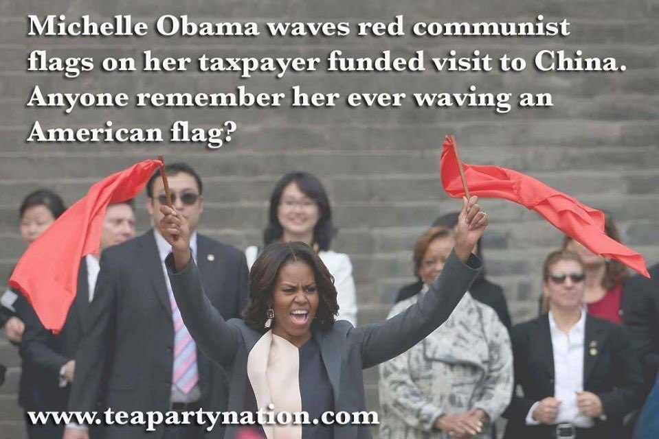 #Flashback to Moochelle waiving &#39;red flags of communism&#39; during her govt. paid trip to #China   @ExposeLiesToYou #tcot #maga #AmericaFirst <br>http://pic.twitter.com/foycfmsDVz
