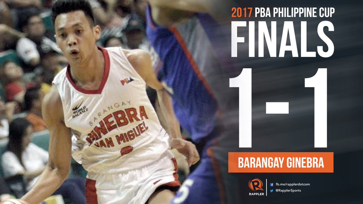 BREAKING. Barangay Ginebra San Miguel takes Game 2 of the #PBA2017 #PB...