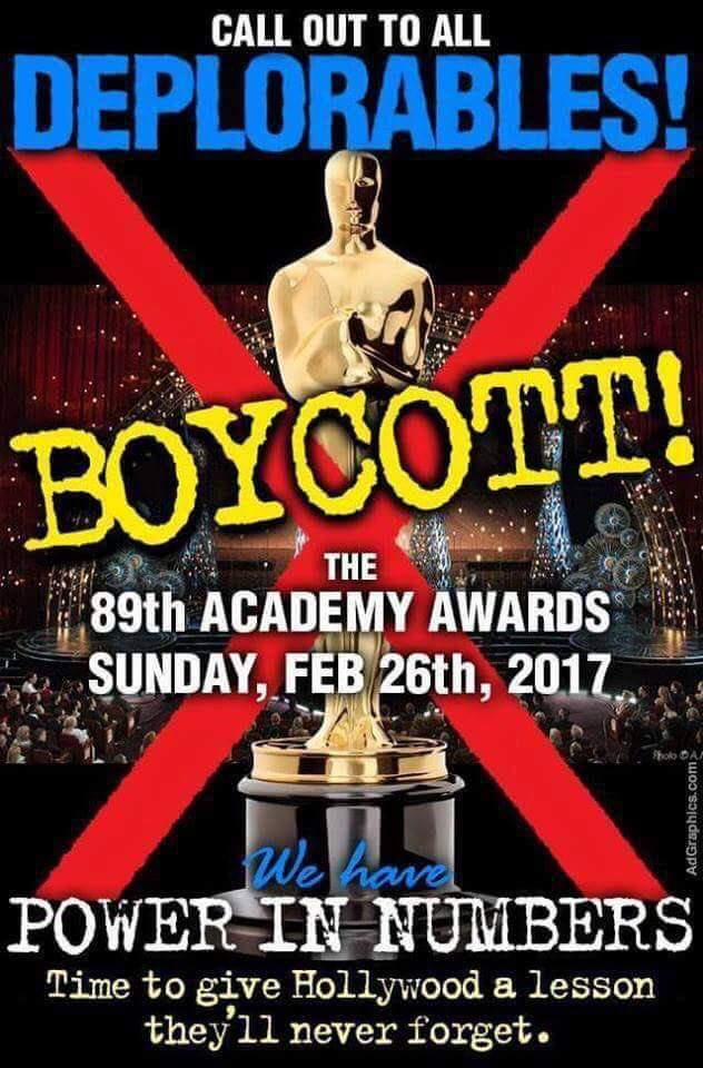 Rally the deplorables! Stand against Hollywood communists!  #BoycottOSCARS 🛇 #Oscars2017  #StandWithTrump  #AmericaFirst  #MAGA <br>http://pic.twitter.com/6r9DxJzTs4