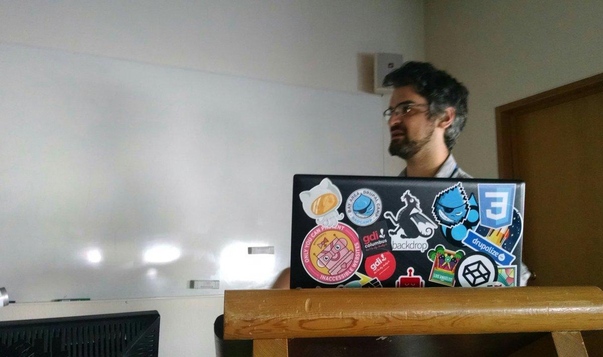 Wes behind his computer