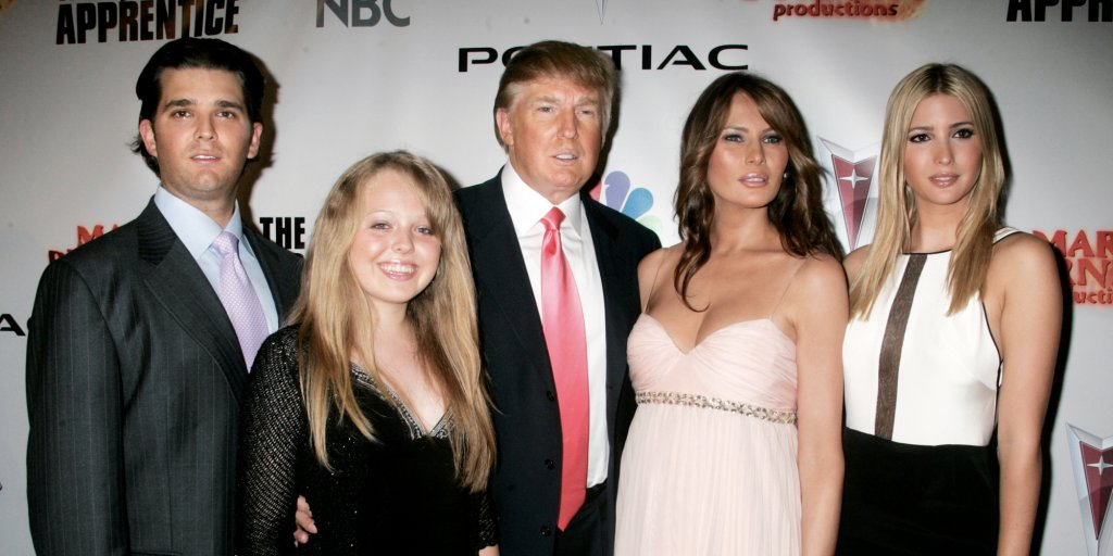 """Trump: """"Hey, whose the small broad on my right?""""  Yes-Man Goon: """"Tiffany, Mr. Trump.""""  Trump: """"Oh. She's a 6 at best."""""""