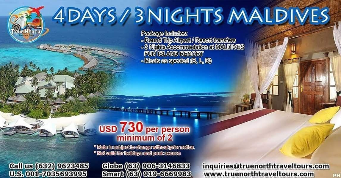 4D3N, Maldives, $730/person, minimum 2 persons. Book now! #paradiseisland #couple #travelagency #traveler #business #tourists #company #tour<br>http://pic.twitter.com/PBDwcNaaQp