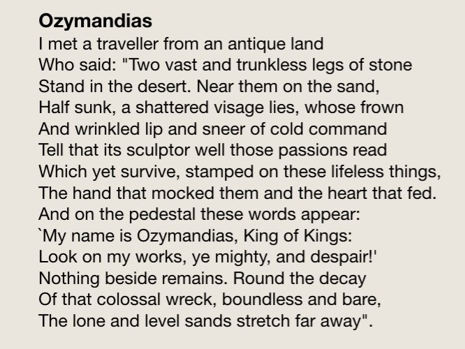 who wrote the poem ozymandias
