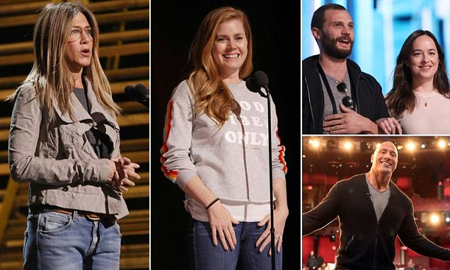 Stars like Jennifer Aniston, Amy Adams and 'The Rock' rehearse for the...