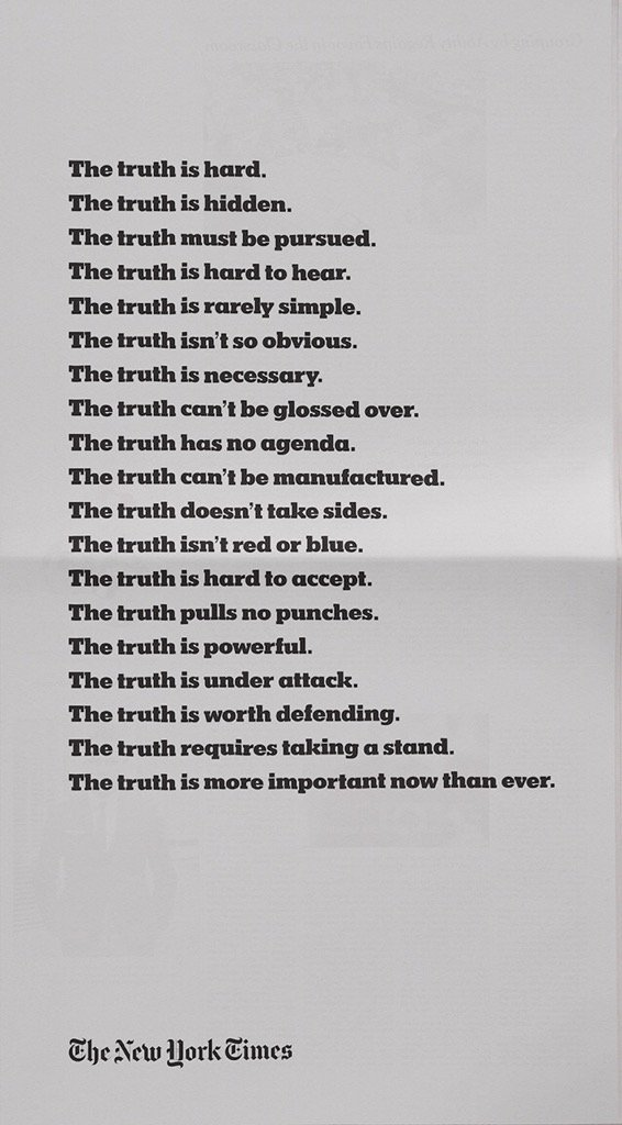 NY Times ad copy for tonight's Oscar broadcast. It's shocking in its reflection of our times. https://t.co/sbNGyCsews
