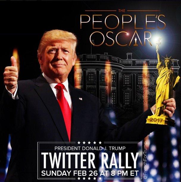 Twitter Rally for Trump  #TrumpWins4USA Sunday Feb 26 at 8PM ET #WinnerIsDJT #Oscars  #MAGA <br>http://pic.twitter.com/W3bCdWjsAw