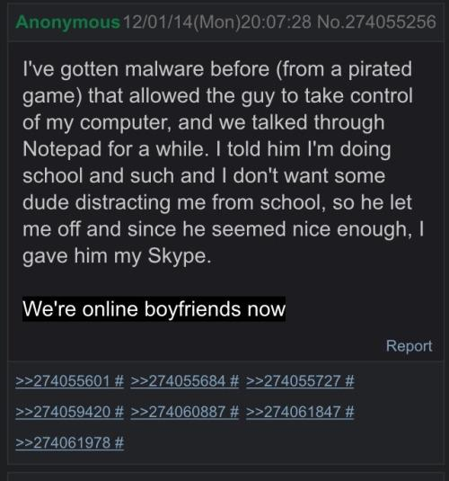 Watch out, #malware can lead to online boyfriends. https://t.co/X5vGHokVyC