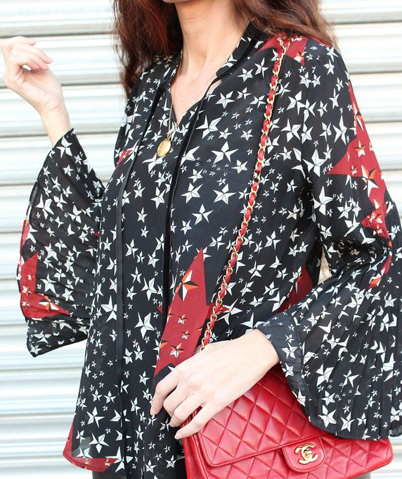 Black Stars Printed Flared Sleeve Blouse