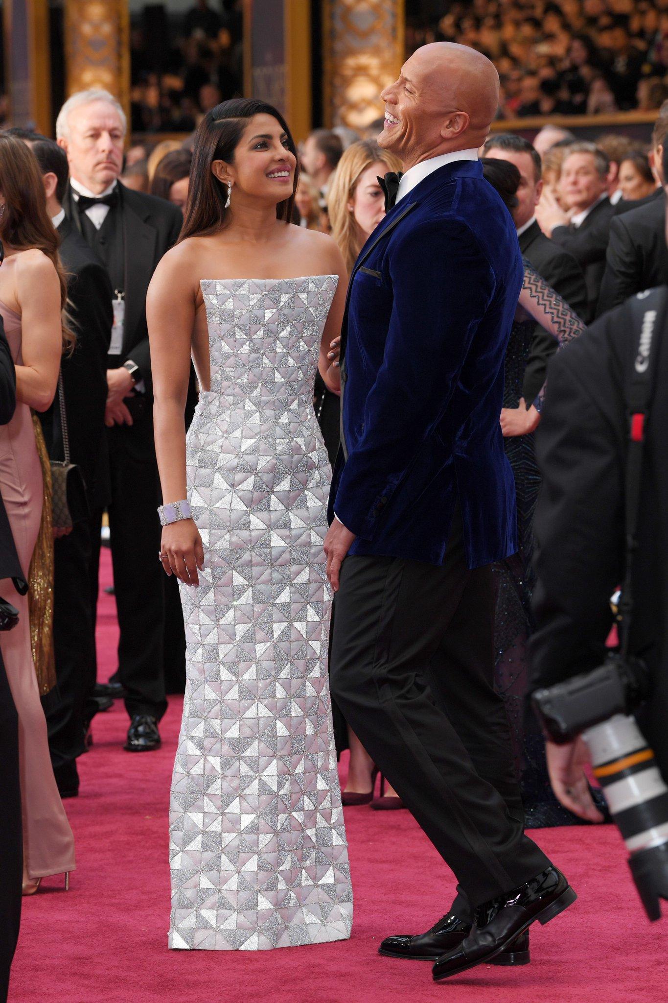 Priyanka Chopra and Dwayne @TheRock Johnson had a #Baywatch reunion at the #Oscars https://t.co/CE9NWs6paT https://t.co/xR0K4ajvJj