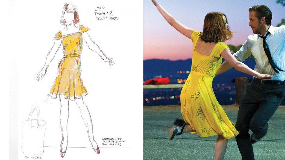 Ew Live On Twitter Lalafact The Floral Pattern On Emma Stone S Yellow Dress In Lalaland Is Painted On By Hand By Costume Designer Mary Zophres Photo Thr Https T Co Ss9emmhuak