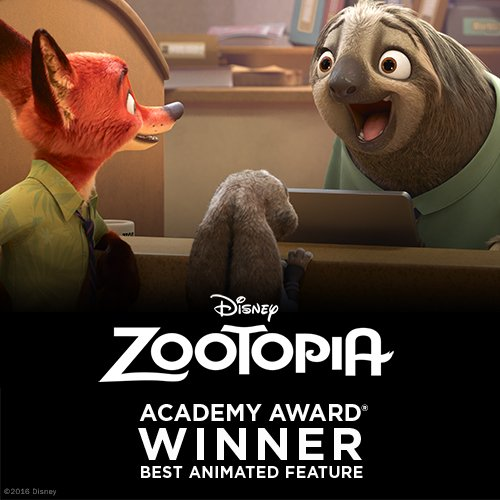Congrats to Team #Zootopia on their #AcademyAwards win for Best Animat...