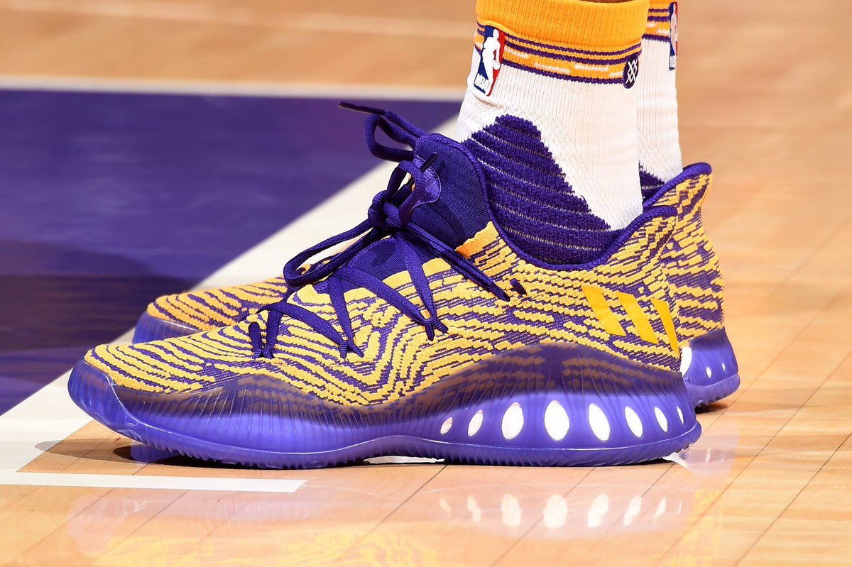 f3508b2142e2 A closer look at the adidas Crazy Explosive Low  Lakers PE worn by   B Ingram13 vs. San Antoniopic.twitter.com PMpYTyWAxS