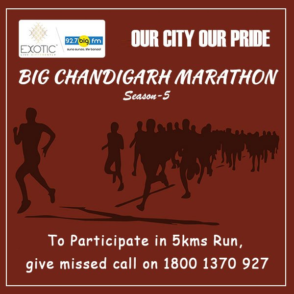 Get Ready For #BIGChandigarhMarathon Presented By #ExoticGrandeur @927...