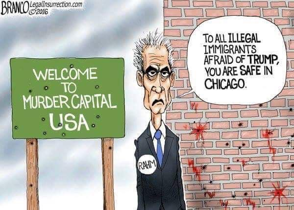 #IllegalImmgrants are safe in #Chicago #IL, #MurderCapital USA, #SanctuaryCity &amp; #Obama hometown - run by Mayor Rahm former Chief of Staff. <br>http://pic.twitter.com/ZMQ13GTLsa
