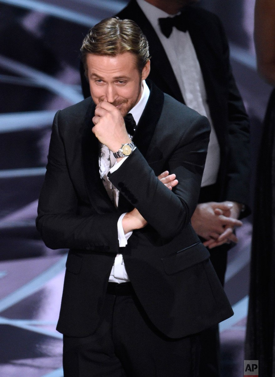 Ryan Gosling reacts as the true winner of best picture 'Moonlight' is announced at the #Oscars.