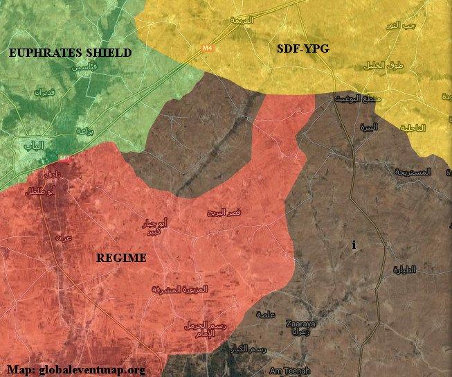 Gli avanzamenti dell'esercito siriano tra al Bab e Manbij, aggiornata al 27/02/2017. Credits to: Globaleventmap.org