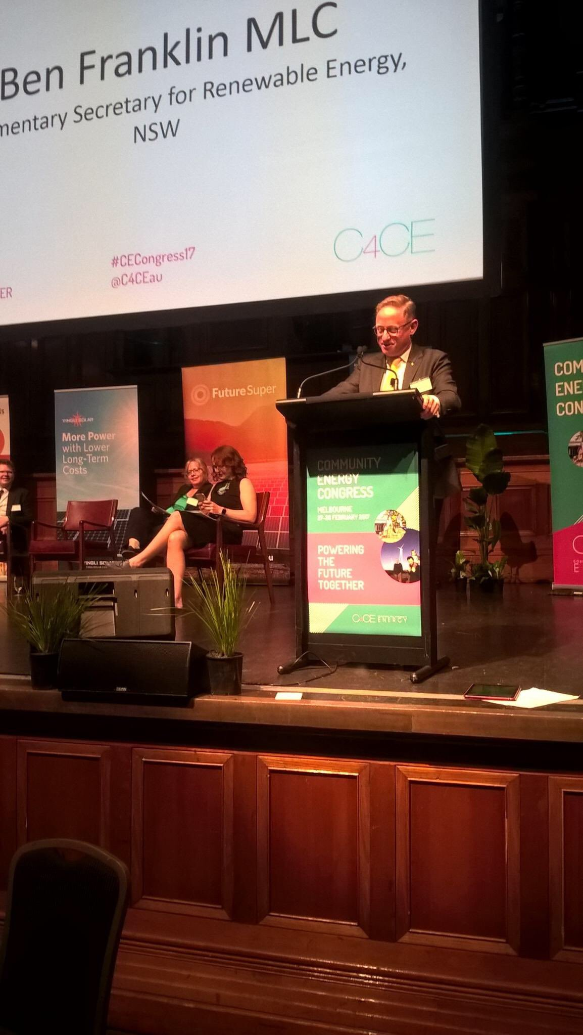 Proud to express NSW Lib & Nats Government's strong support for community energy today at #CECongress17 https://t.co/CGRXdrE9kq