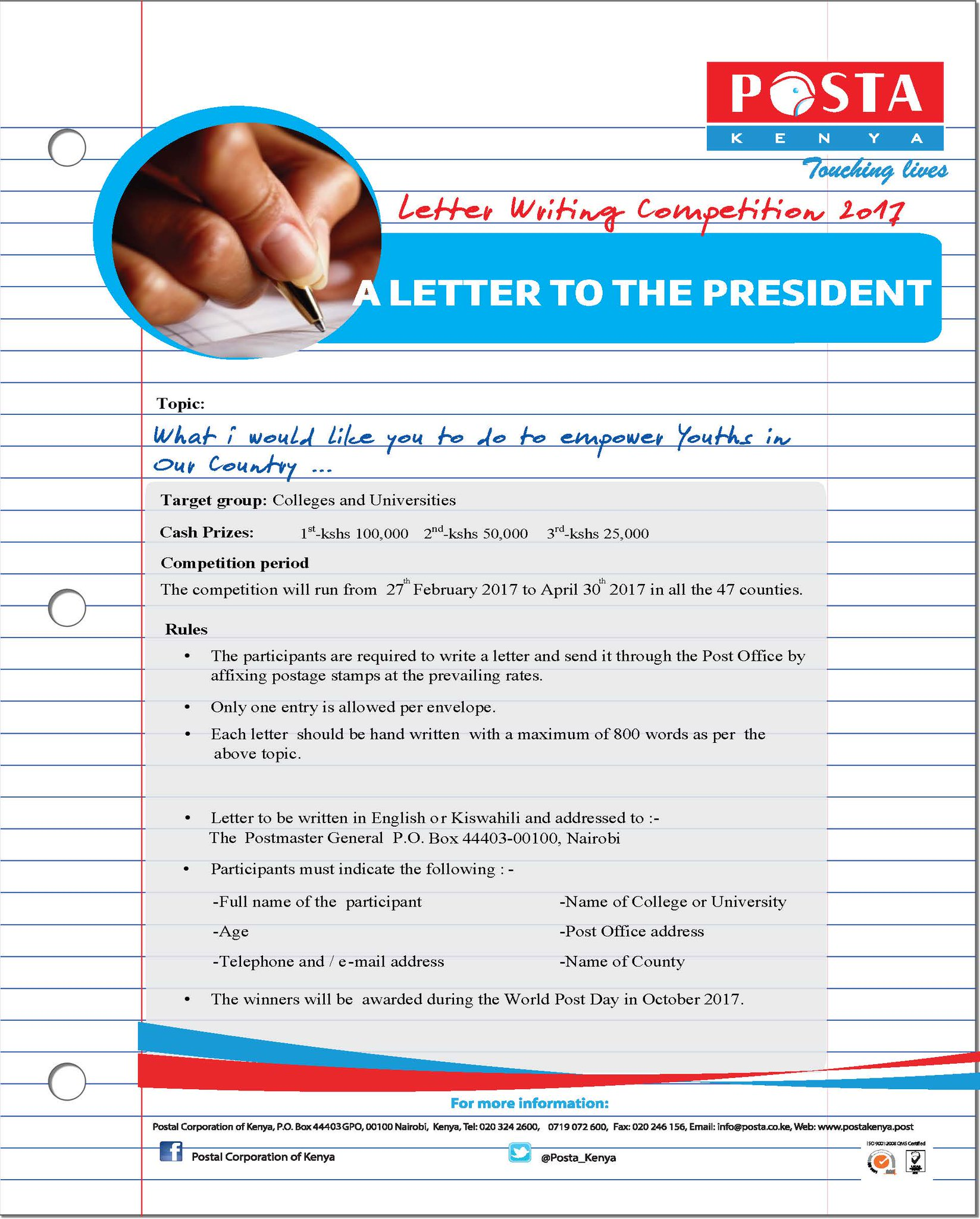 postmaster general on twitter a letter to the president posta_kenya letter writing competition 2017 railainmeru