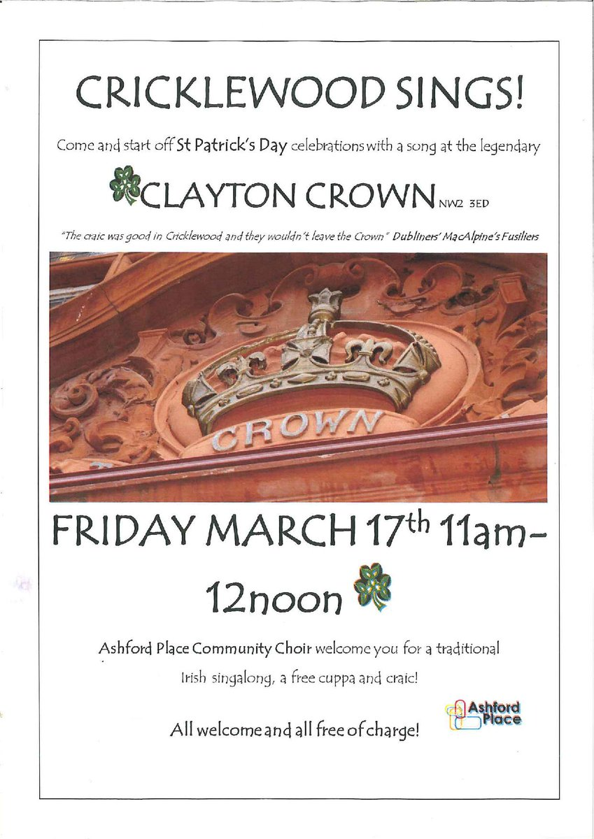 Join us on Patrick's Day from 11am for a sing a long and some tea/coff...
