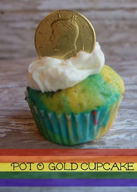 Pot O' Gold Rainbow Cupcakes
