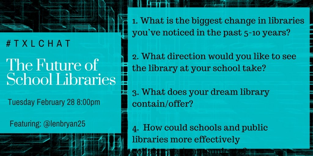 Let's chat tomorrow night about these questions. #txlchat https://t.co/q7V7KpNtk3