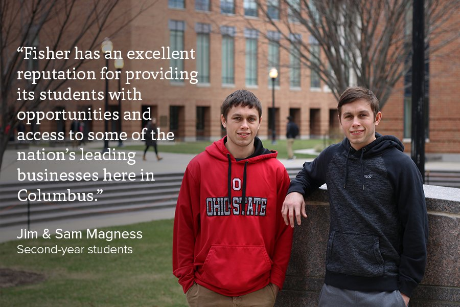 Professional opportunities right here in #Columbus led twins Jim & Sam Magness to Fisher. #BuckeyeLove #MyOhioState https://t.co/PJYCIqx9x7