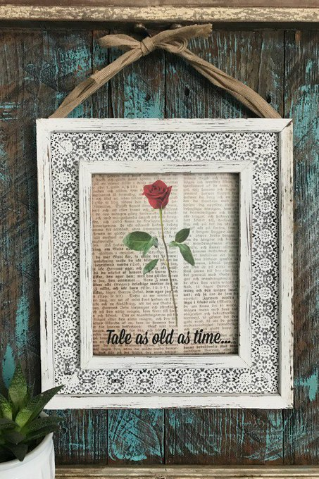 Beauty and The Beast Antique Book Page Art {Tutorial}