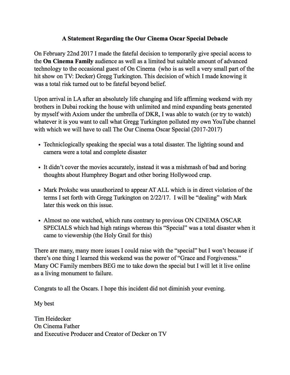 tim heidecker for da on twitter a statement regarding the our