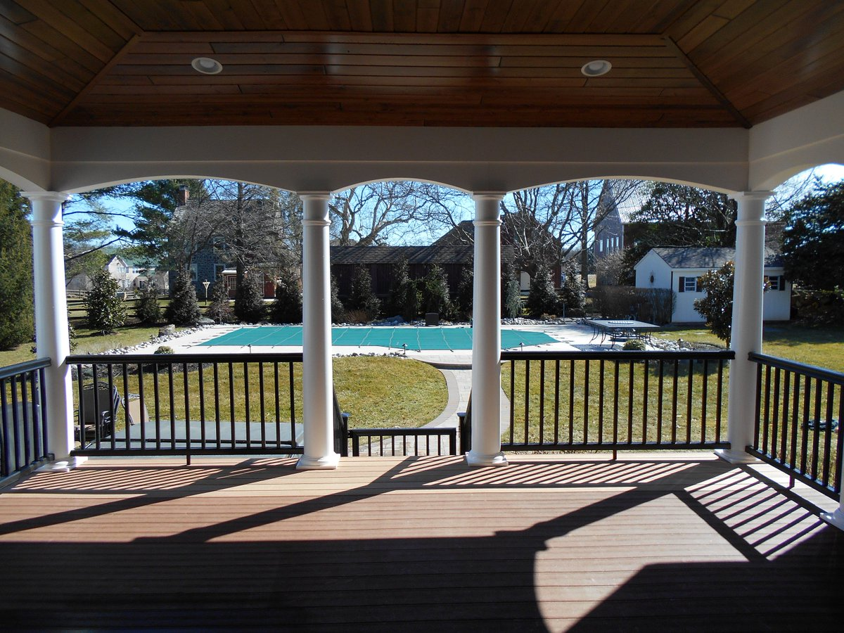 The guys finished this #roof project last week, added it over client&#39;s existing #deck, check out the pre-finshed wood ceiling #outdoorliving<br>http://pic.twitter.com/lXumqUmKBH