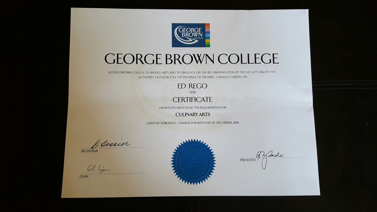 Ed Rego On Twitter My Culinary Arts Certificate Finally Arrived