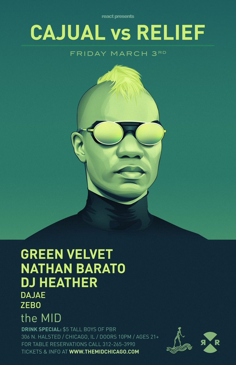 #ThisFriMarch3 @CajualRecords vs @reliefrecords @themid #Chicago @GreenVelvet_  @nathan_barato @divadajae @DJzebo &amp; me. #TechYes<br>http://pic.twitter.com/DGenxlfcBQ