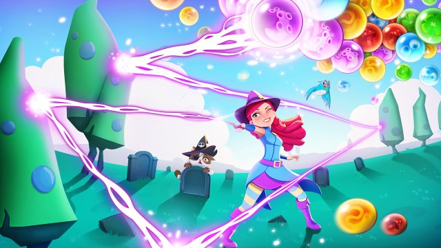 Travel through the realm and discover new game modes in 'Bubble Witch...